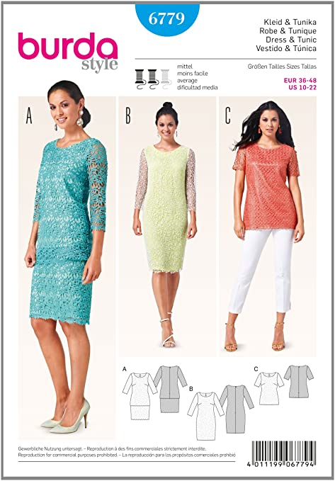 Burda Sewing pattern 6779 Lace dress and top: Amazon.co.uk: Kitchen ...