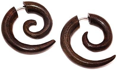 Pendientes falsos dilatadores de madera, unisex, diseño étnico, falsa espiral, color marrón: Amazon.es: Joyería