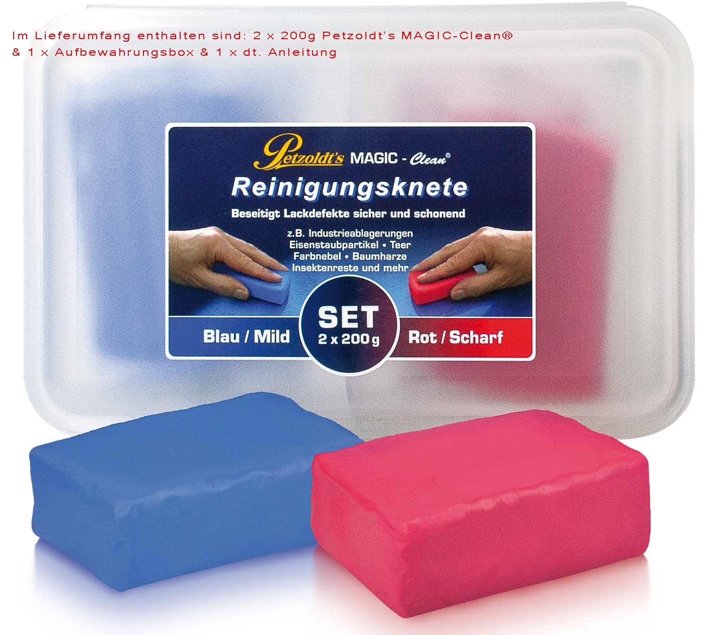Petzoldt's 2x 200 Gramm Profi-Reinigungsknete MAGIC-Clean, Blau und Rot Petzoldt' s