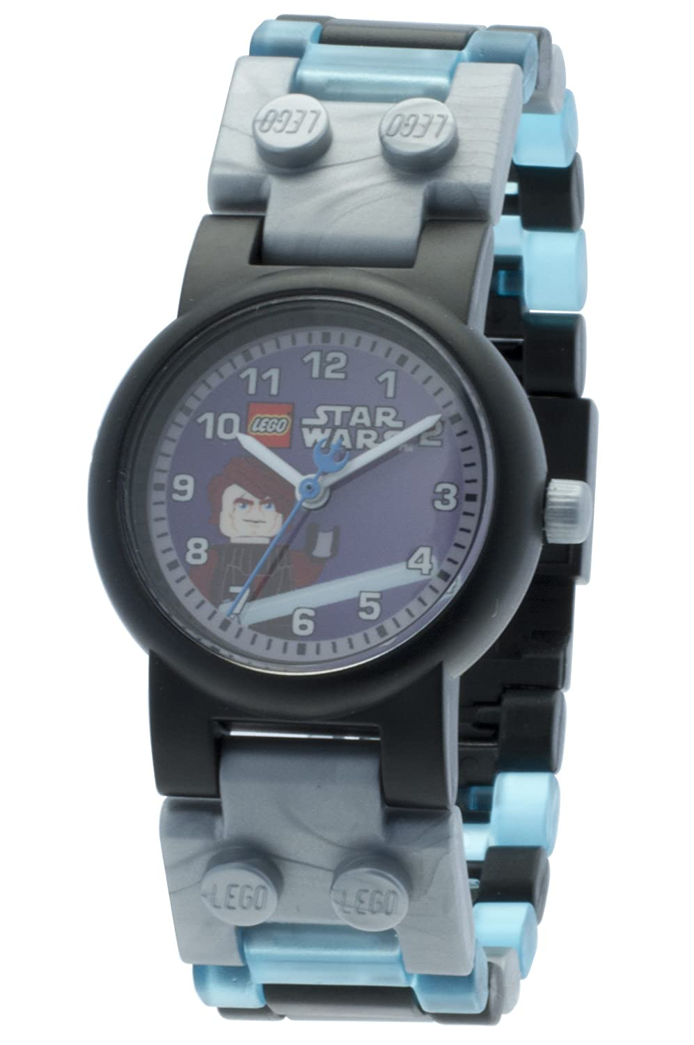 LEGO Star Wars 8020288 Anakin Skywalker Kids Buildable Watch with Link Bracelet and Minifigure | gray/blue | plastic | 28mm case diameter| analog quartz | boy girl | official