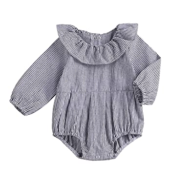9411f71676b Amazon.com  GSHOOTS Baby Girls  Ruffled Collar Romper Newborn Girl ...