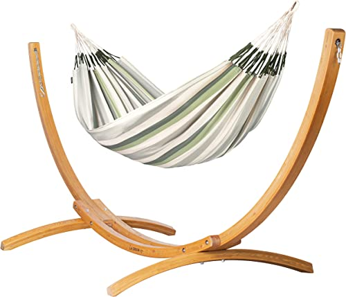 LA SIESTA Outdoor Kingsize Hammock with Sustainable Wood Arc Stand – Brisa Cedar Weather-Resistant