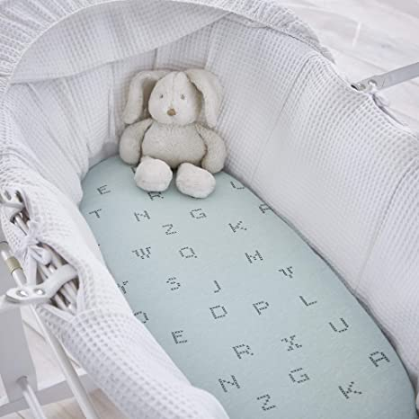 Silentnight Safe Nights Alphabet Fitted Sheet Cot Bed Duck Egg Pack of 2