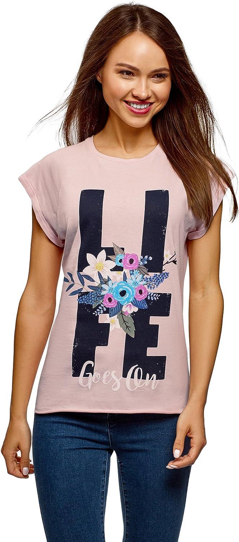 oodji Ultra Mujer Camiseta Holgada con Estampado: Amazon.es: Ropa ...