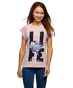 oodji Ultra Mujer Camiseta Holgada con Estampado y el Borde Inferior No Elaborado, Rosa, ES 44 / XL