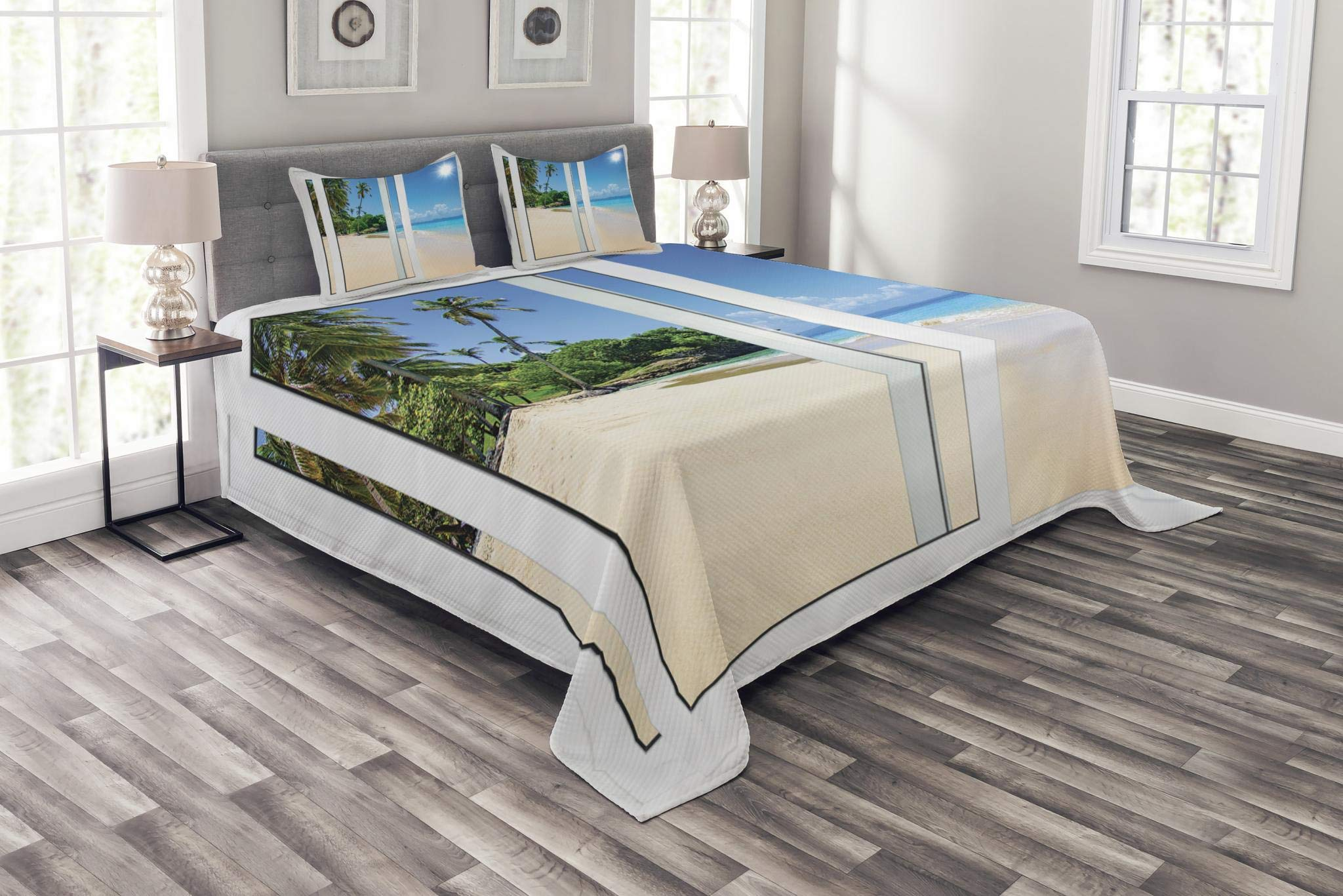 Ambesonne Ocean Bedspread Set Queen Size, Ocean View from The Window on The Island Scenery Traveling Destination, Decorative Quilted 3 Piece Coverlet Set with 2 Pillow Shams, Cream Blue Aqua White