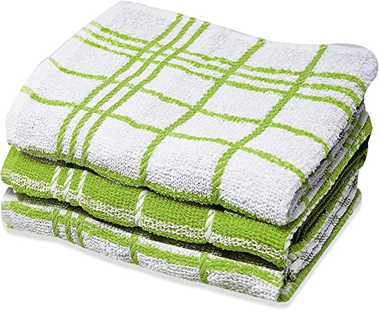 Xelay - Paño de cocina (100% algodón, tejido de rizo egipcio, secado suave, 3 unidades de 4, 5, 6, 10, 15, 35 cm x 60 cm), color negro y blanco., hilo, Green Pack of 3, 14