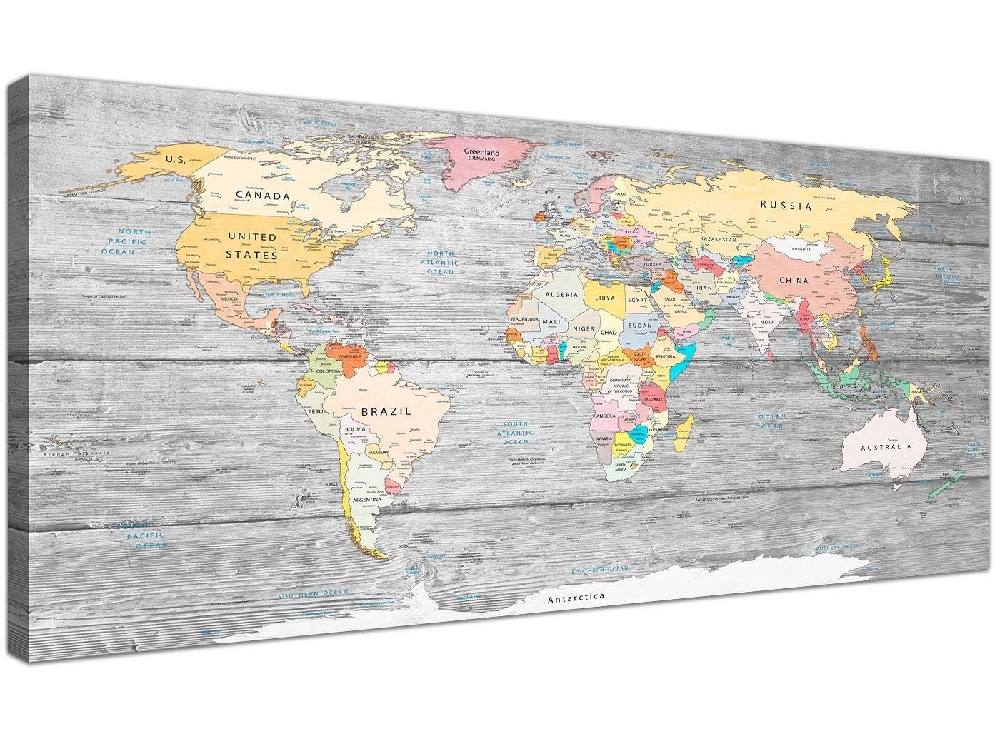 Cuadro mapamundi Wallfillers en lienzo, con fondo gris claro, de 120 cm de ancho: Amazon.es: Hogar