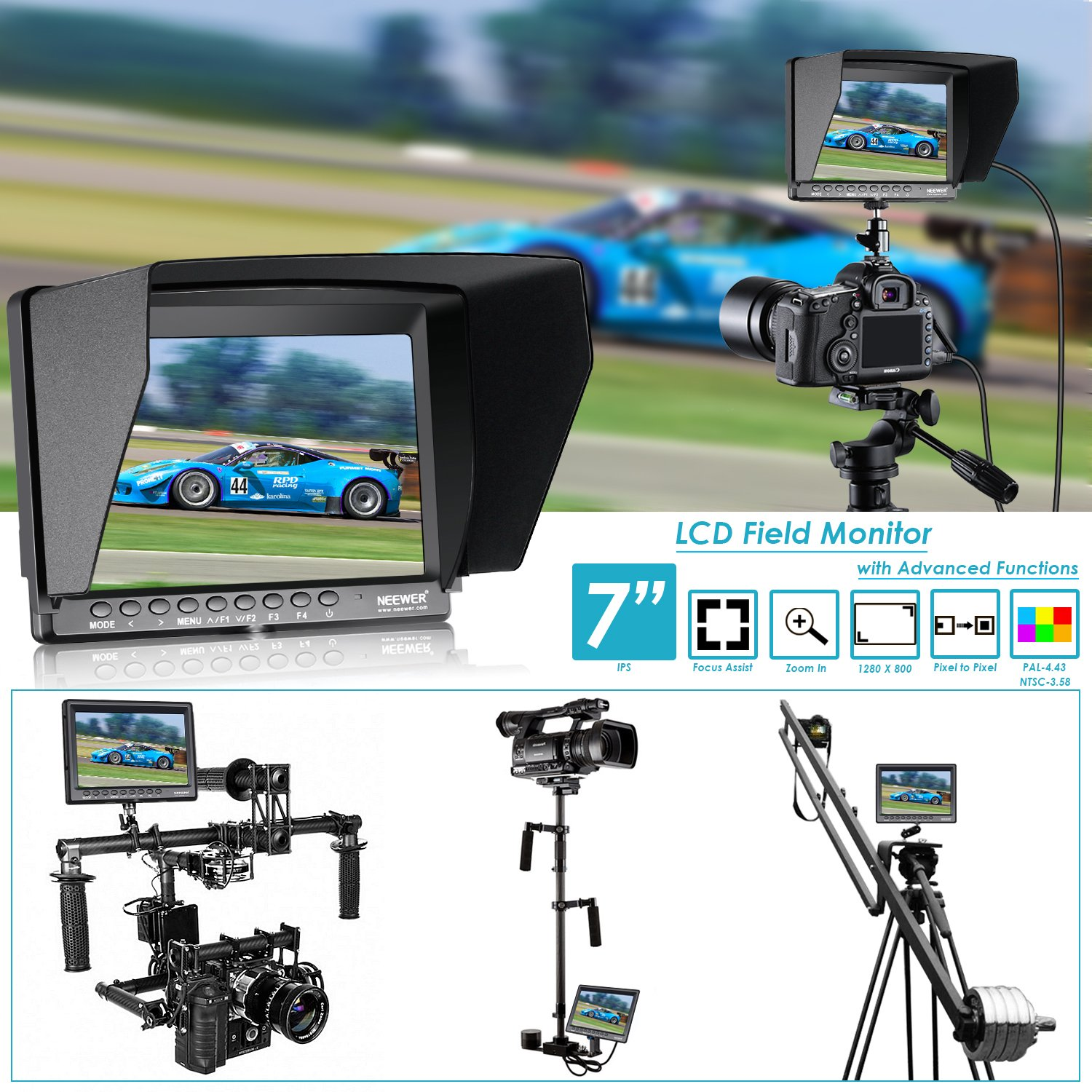 Neewer F100 7-inch 1280x800 IPS Screen Camera Field Monitor Kit: Support 4k input with 2600mAh Rechargeable Li-ion Battery, USB Battery Charger and 11.8-inch Magic Arm for DSLR Camera/Camcorder by Neewer (Image #2)