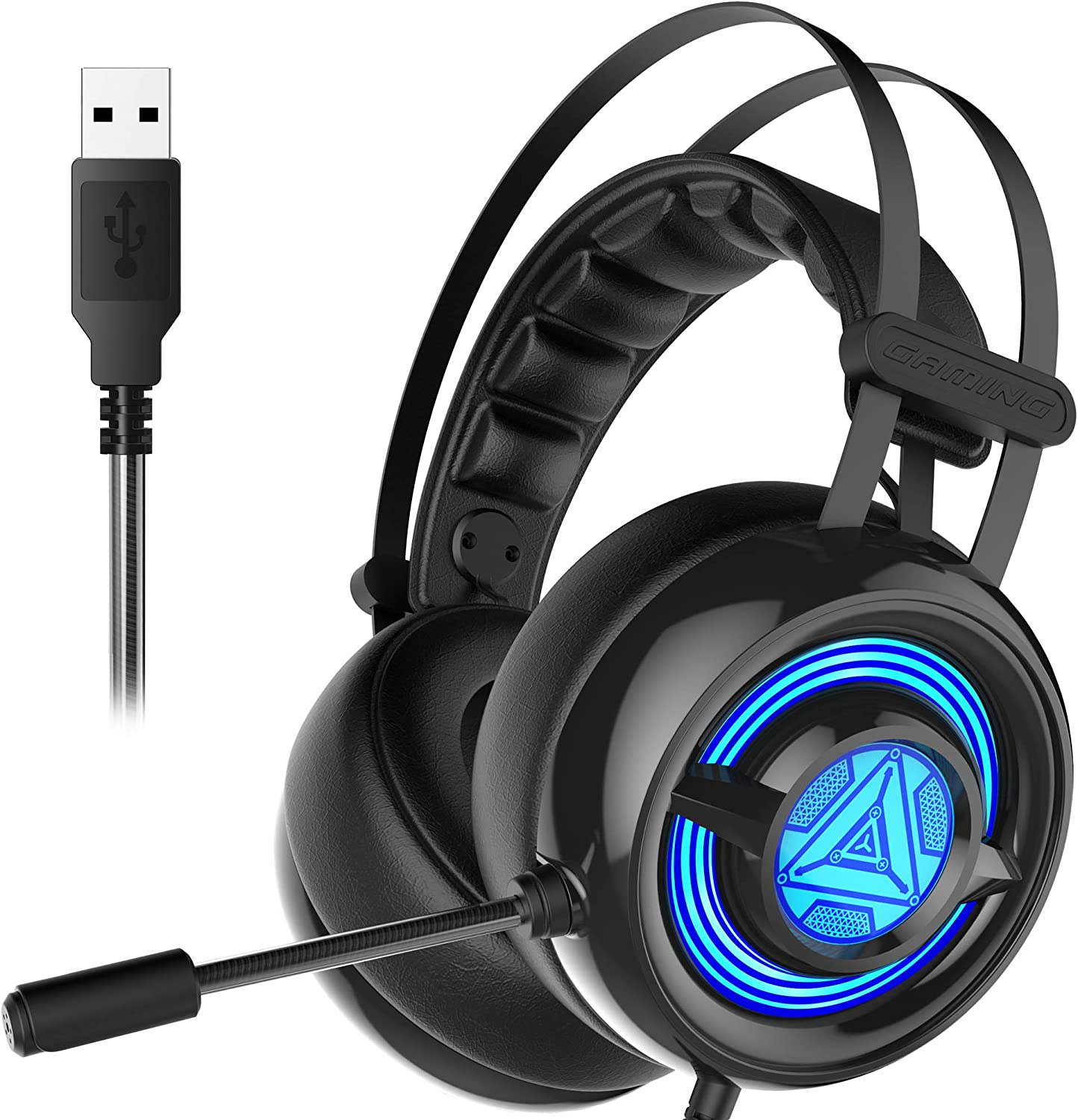 SENICC Stereo Gaming Headset USB Headset with Microphone Noise Cancelling,Surround Sound PS4 Headset Over-Ear PC Headphones with LED Light W263