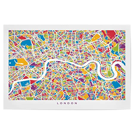 Street Map London Uk.Artboxone Poster Maps London England Street Map 90x60 Cm Design Art Print By Michael Tompsett
