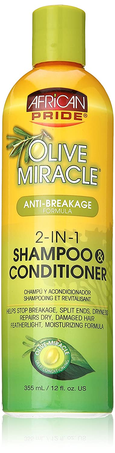 African Pride Olive Miracle Anti-Breakage 2 in 1 Shampoo and Conditioner 355 ml/12 fl.oz 440128