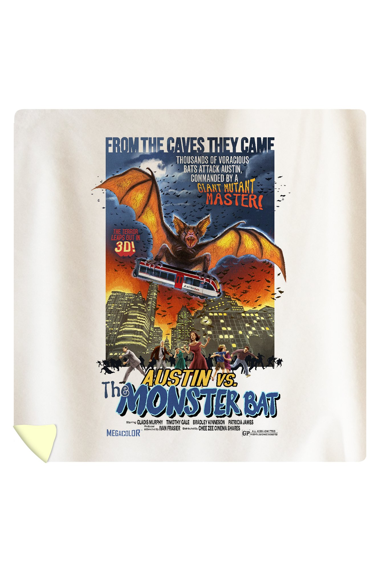 Austin, Texas - Austin vs The Monster Bat - B Movie Poster (88x88 Queen Microfiber Duvet Cover)