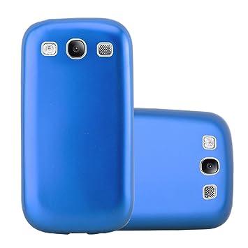 Cadorabo Funda para Samsung Galaxy S3 / S3 Neo en Metallic Azul – Cubierta Proteccíon de Silicona TPU Delgada e Flexible con Antichoque – Gel Case ...