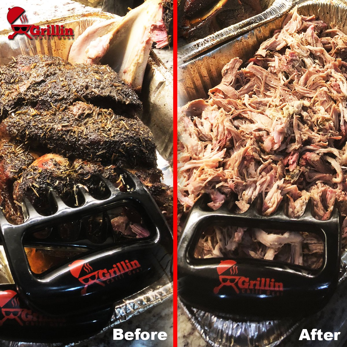 Grillin Chill Gear Meat Claws - Best Bear Claw Pulled Pork Meat Shredders in BBQ Grill Accessories +Extreme Heat Resistant Grill Gloves, Heavy Duty Aramid Fiber & Non Slip Silicone, Soft Cotton Liner by Grillin Chill Gear (Image #6)