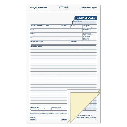 amazon com tops 3868 snap off job work order form 5 2 3 x 8 5 8