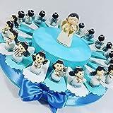 Torta BOMBONIERA ANGIOLETTI Musicisti Assortiti Confetti Azzurri Ideale per bomboniere Battesimo, Comunione Bimbo