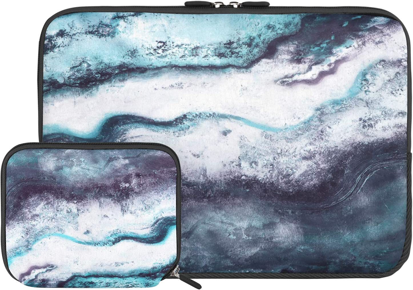 iCasso Laptop Neoprene Sleeve Bag, Protective 13-13.3 inch Laptop Cover Bag Compatible with MacBook Pro, MacBook Air, Notebook Computer, Waterproof Carrying Briefcase with Small Case(Green Marble)