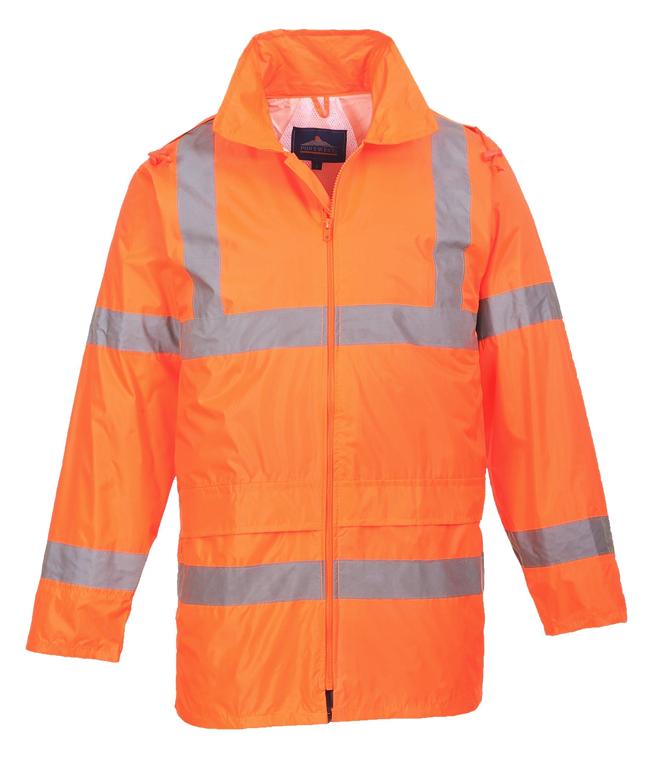 Portwest Waterproof Rain Jacket, Lightweight, Orange, X-Large