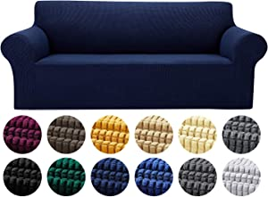Yucoao Stretch Sofa Slipcovers Couch Covers(80''-95''), 1PC Spandex Oversized Sofa Cover Lattice Jacquard Furniture Cover,Washable Furniture Protector for Living Room,Children and Pets, Navy
