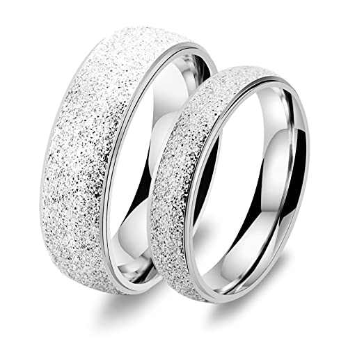 Amazon.com: Aooaz In Love Rings Stainless Steel Engagement Rings Friendship Rings Silver Rings With Your Laser Engraving Free Womens 5 & Mens 10 Novelty ...