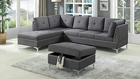 Amazon.com: GTU Furniture Contemporary Sectional Sofa Set in ...