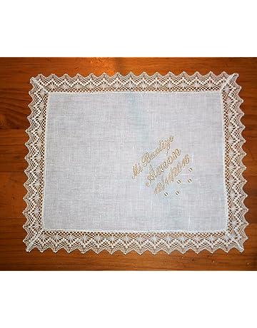 PRIMERAEDAD/Pañuelo bautizo de lino beige personalizado con nombre y fecha/32 x 26