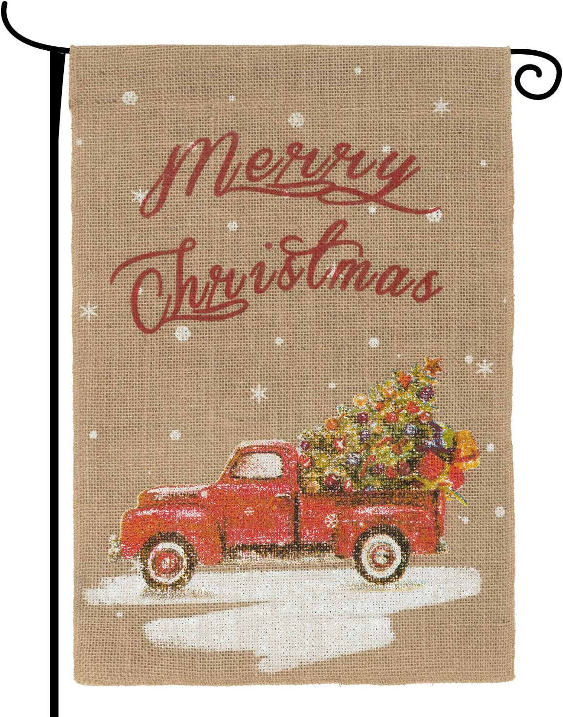N&T NIETING Burlap Merry Christmas Garden Flag 18X12 Inches Vintage Red Christmas Truck Yard Flag Rustic Winter Garden Decor Seasonal Outdoor Flag