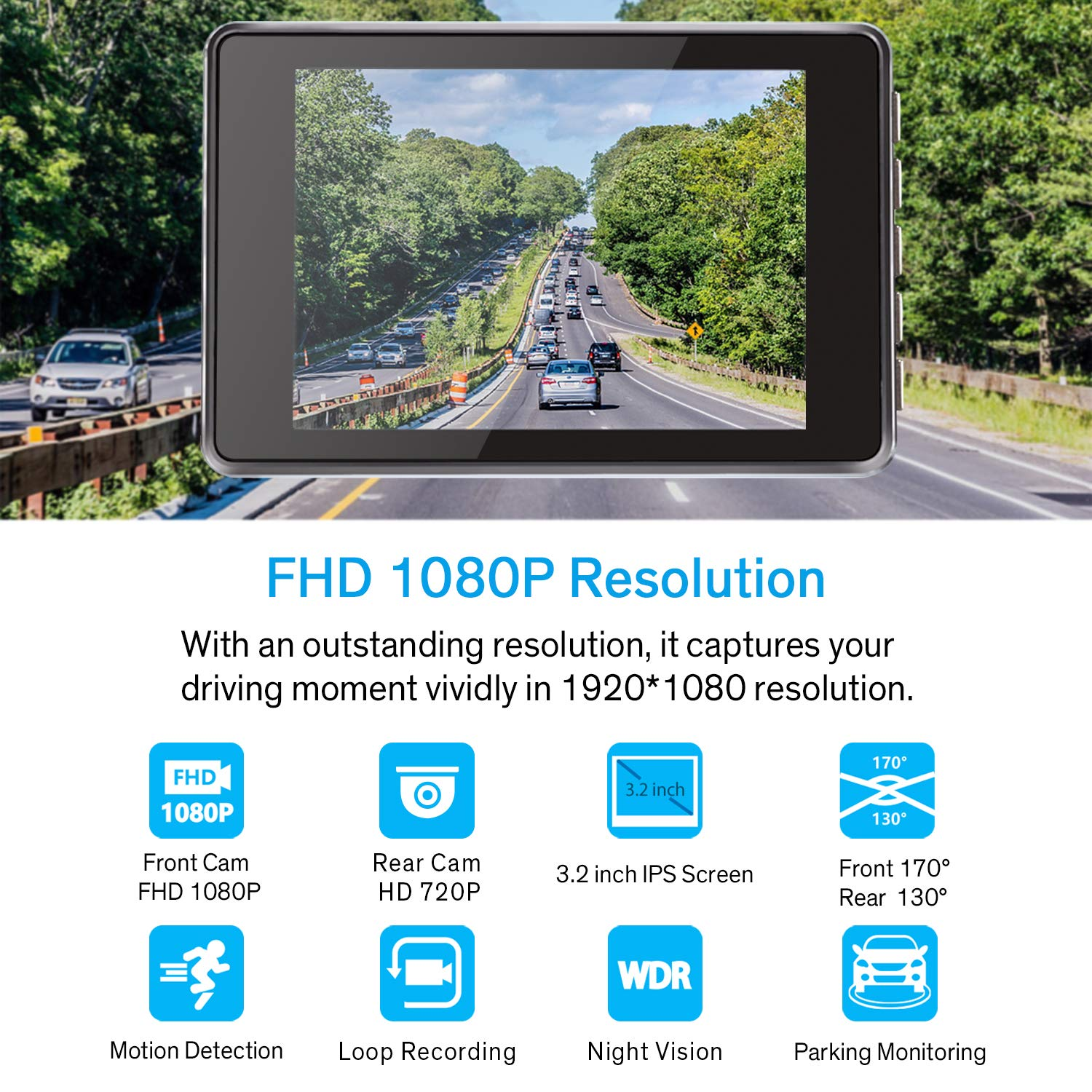 3.2 inch IPS Screen Night Vision Motion Detection 170 Super Wide Angle Dual Dash Cam Front and Rear Parking Monitor WDR G Sensor FHD 1080P Dash Camera for Cars with HD 720P Rear Camera