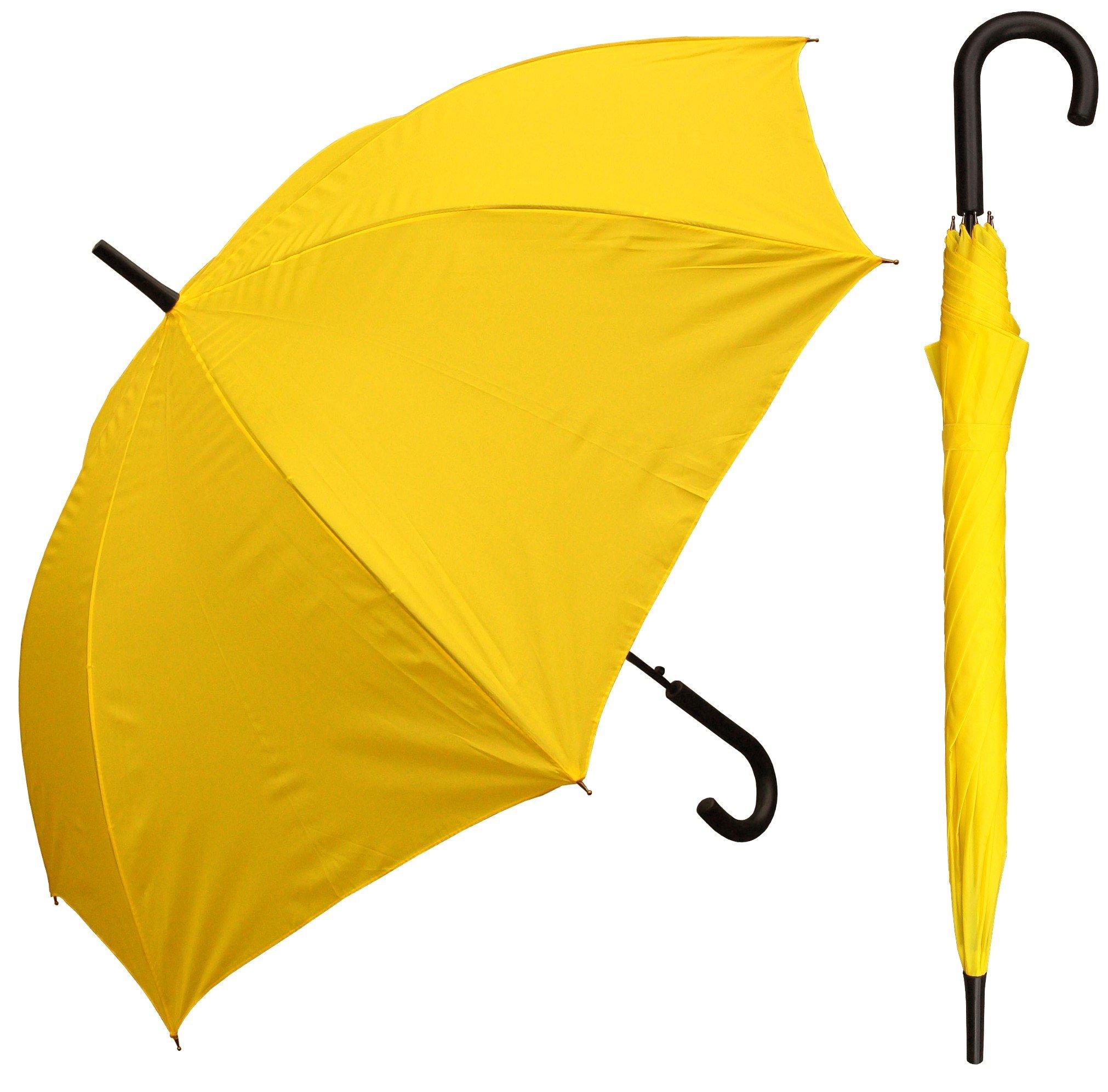 "48"" Auto Open Yellow Umbrella with Black Hook Handle"