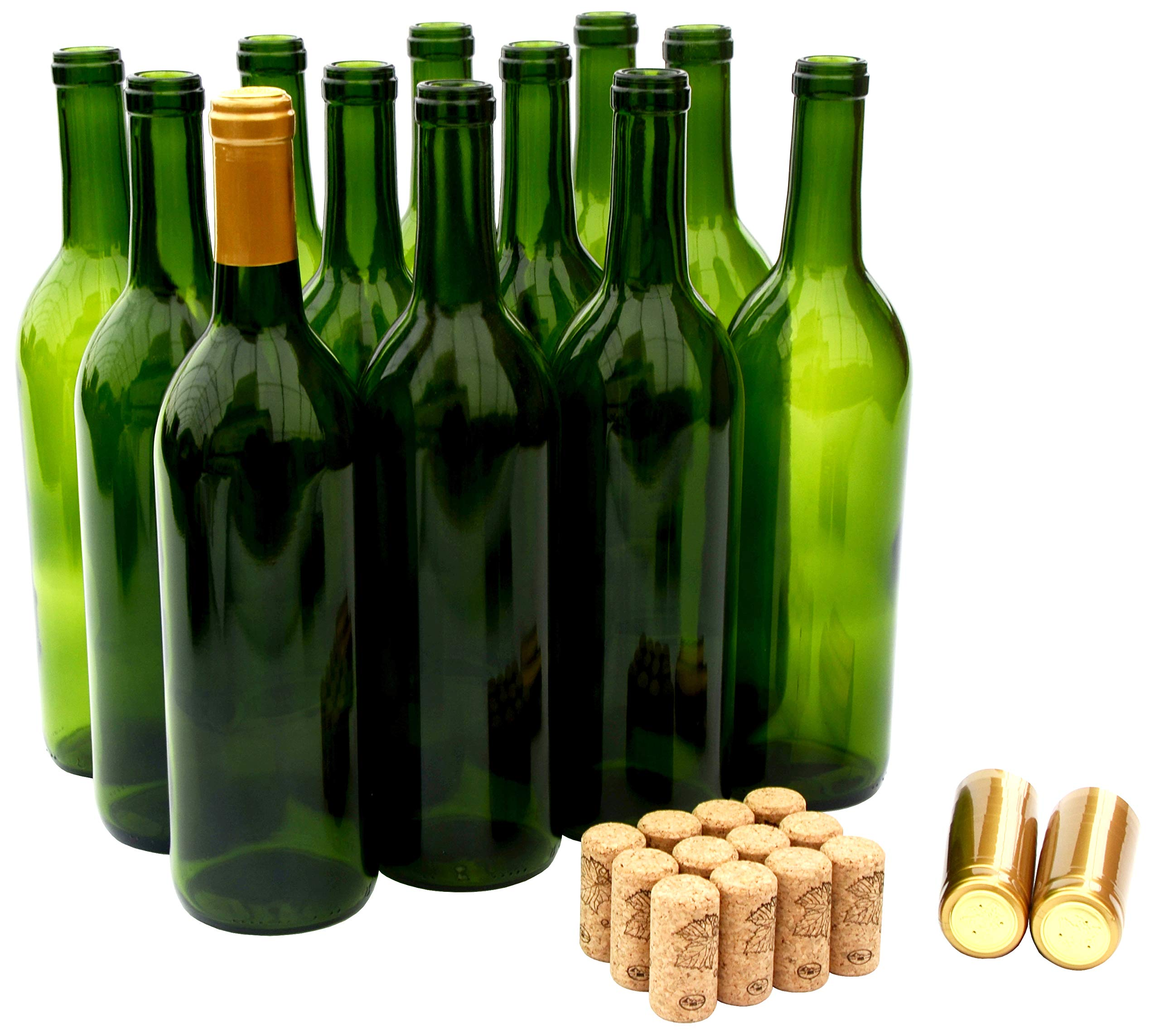 North Mountain Supply 750ml Champagne Green Glass Bordeaux Wine Bottle Flat-Bottomed Cork Finish - with #8 Premium Natural Corks & Gold PVC Shrink Capsules - Case of 12