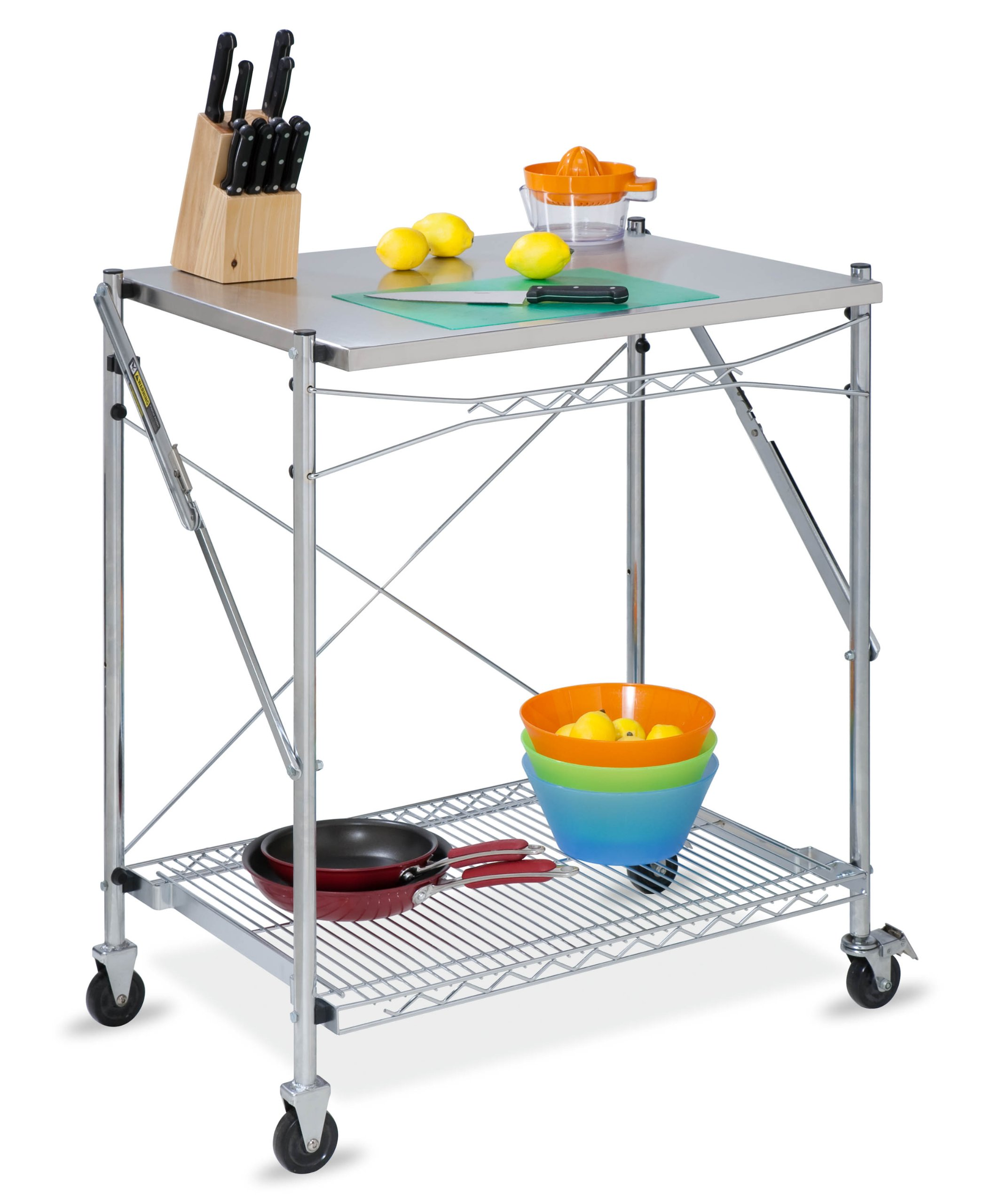 Honey-Can-Do TBL-01566 stainless steel folding urban work table grey
