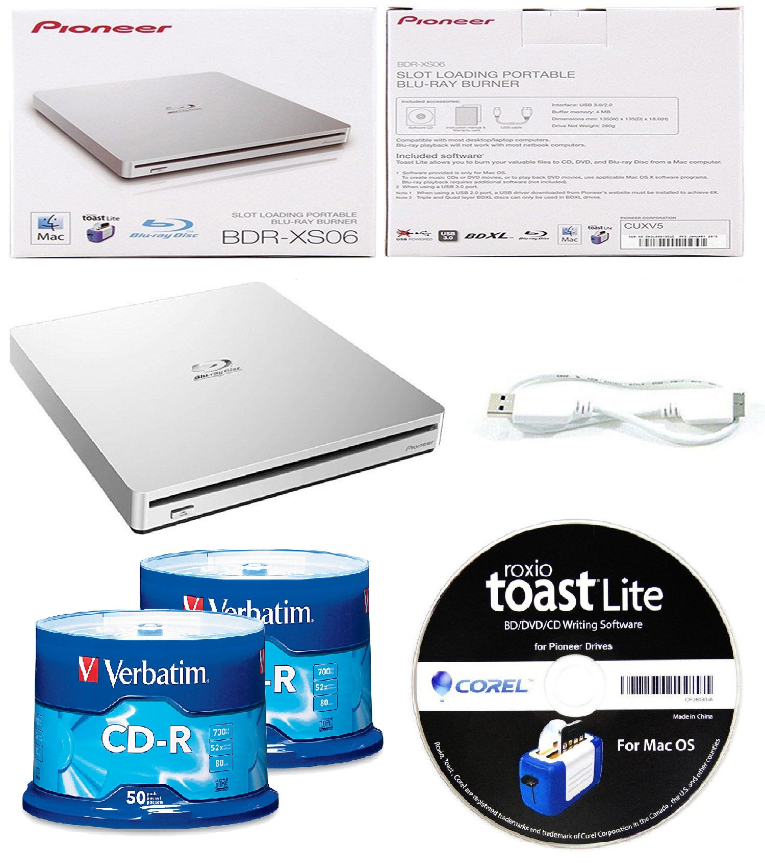 Pioneer 6x BDR-XS06 Slim Slot Portable External Blu-ray BDXL Burner, Roxio Toast Lite Software and USB Cable Bundle with 100pk Recordable CD-R Verbatim 700MB 52X with Branded Surface