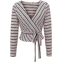 HUA XI YA Womens Long Sleeve V Neck Striped Wrap Shirt Blouse Top with Belt