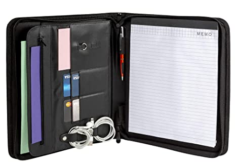 cartera curriculum document de piel con cremallera profesional para reuniones de negocios viajes con organizador planificador