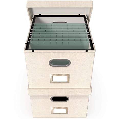 File Boxes For Hanging Files Decorative Filing Organizer With Lid Filing Box Features Patent Pending Metal Folder Glides For Easy Movement Linen
