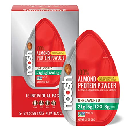 Noosh Almond Protein Powder 35g Single Serve Caddy, Unflavored, 15 Count