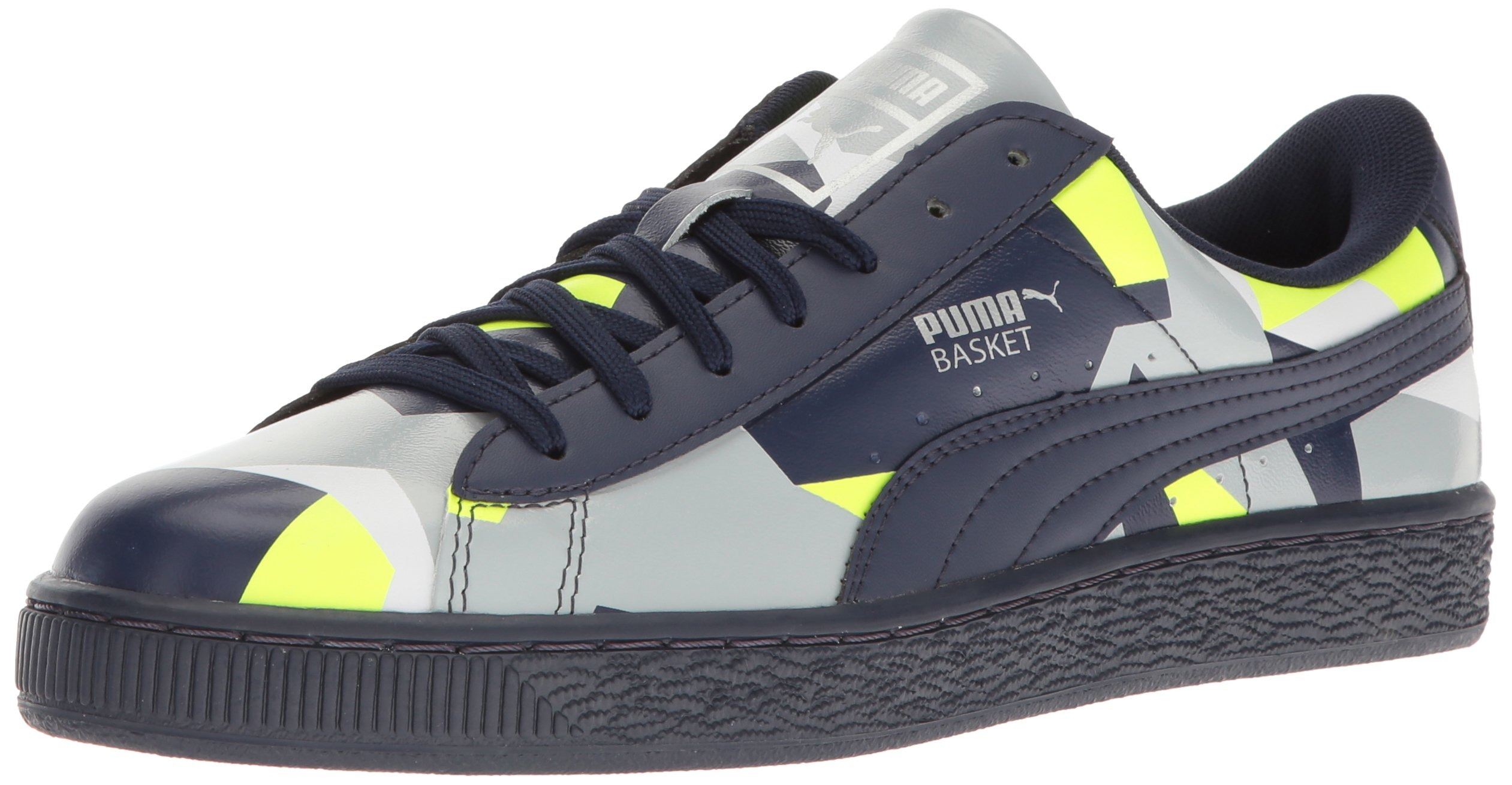 PUMA Men's Basket Classic Graphic Fashion Sneaker, Peacoat-Safety Yellow-Quarry, 7 M US