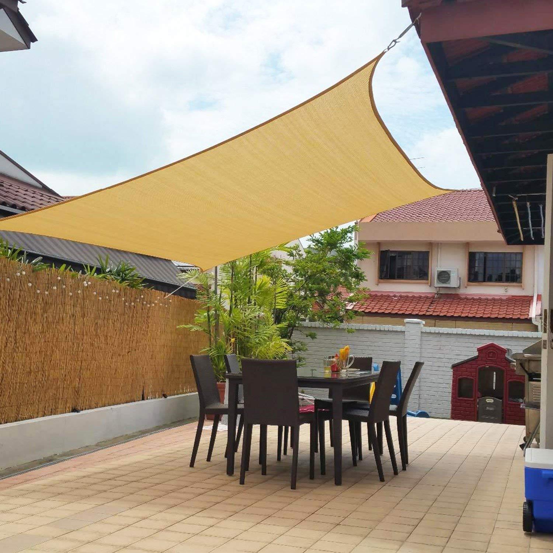 FLY HAWK SunShadeSail Rectangle 10' x 14', Patio Sunshade Cover Canopy - Durable FabricCloth for Outdoor Garden Yard Pond Pergola Sandbox Deck Courtyard - Sand Color (10' x 14' Rectangle)