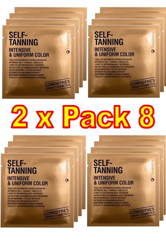 Comodynes - SELF-TANNING Intensive & Uniform Color - La toallita autobronceadora que proporciona un moreno intenso y uniforme - 2 Packs de 8 toallitas autobronceadora 7156