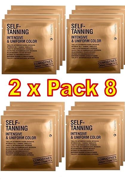 Comodynes - SELF-TANNING Intensive & Uniform Color - La toallita autobronceadora que proporciona un moreno intenso y uniforme - 2 Packs de 8 toallitas ...