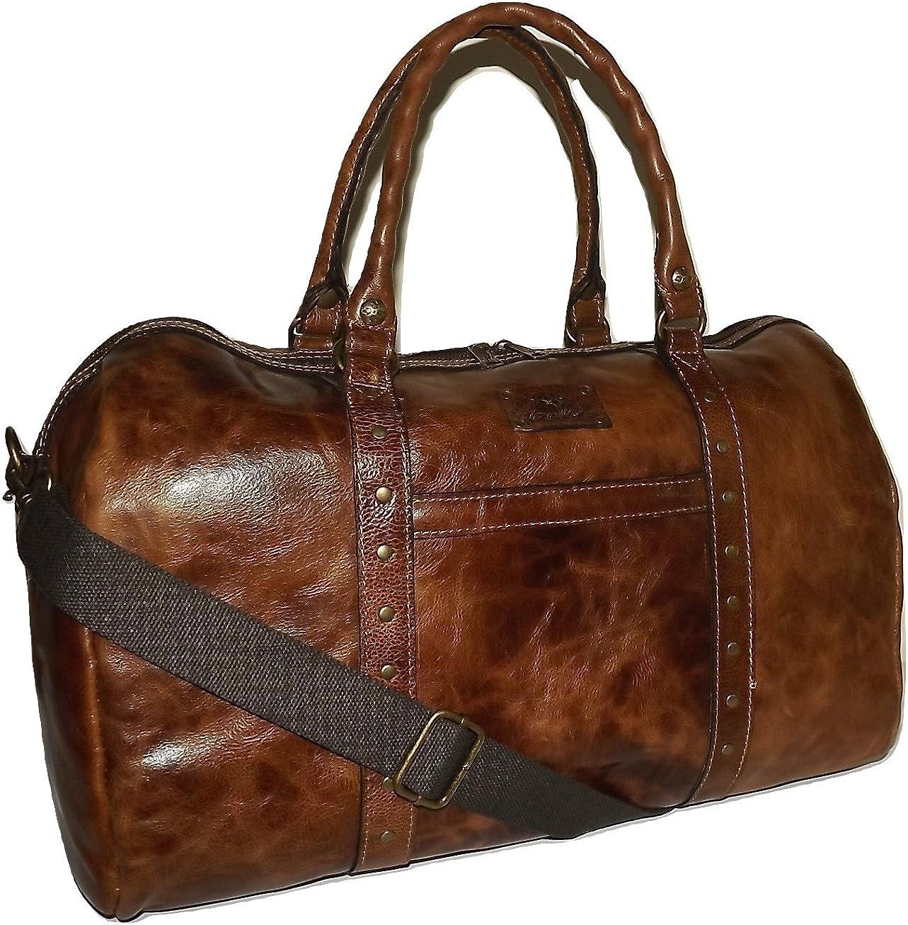 Patricia Nash Vintage Italian Leather 20 Milano Duffel Bag Luggage Cognac, Medium