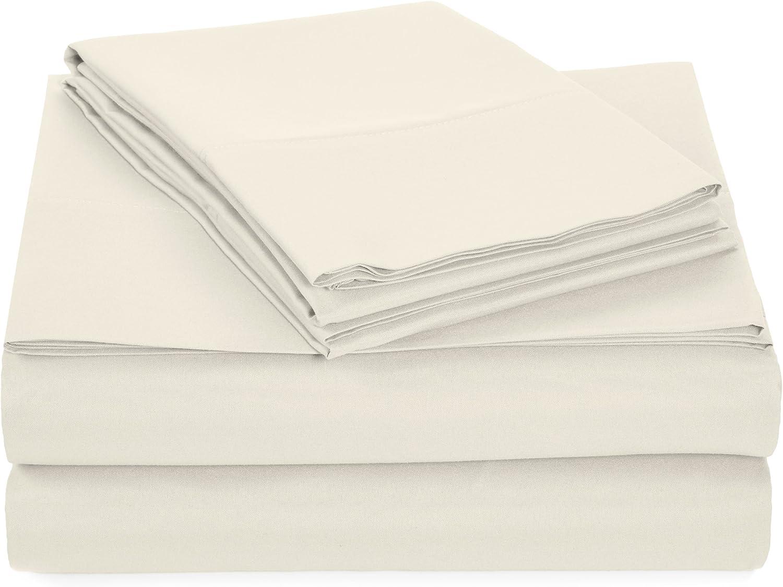 AmazonBasics Light-Weight Microfiber Sheet Set - Twin Extra-Long, Cream