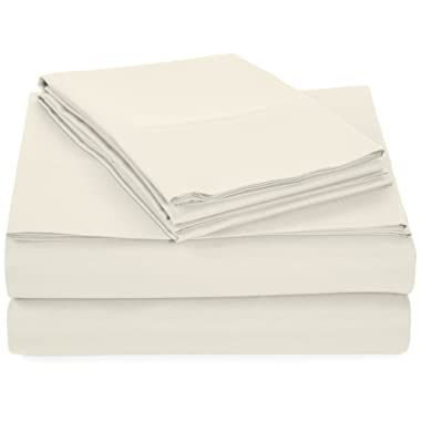AmazonBasics Microfiber Sheet Set - Full, White, Ultra-Soft, Breathable