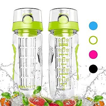 Botella de agua de motivación, Balhvit botella de agua deportiva a prueba de fugas infusión