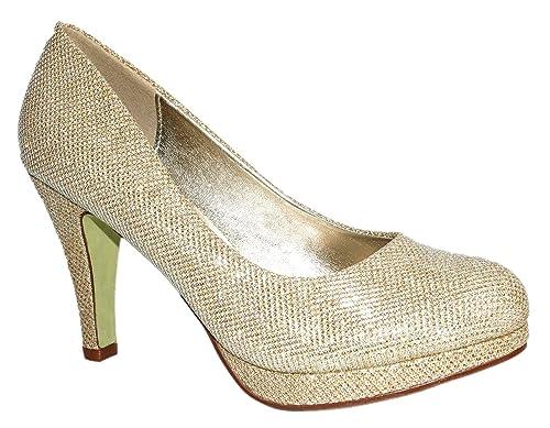 topschuhe24 Zapatillas Para Mujer, Color Plateado, Talla 40