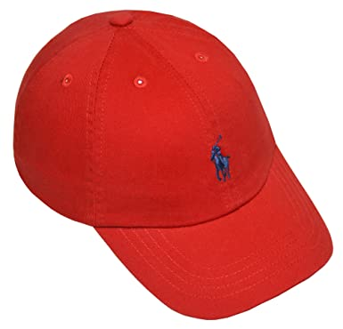 polo ralph lauren cotton chino baseball cap script size red