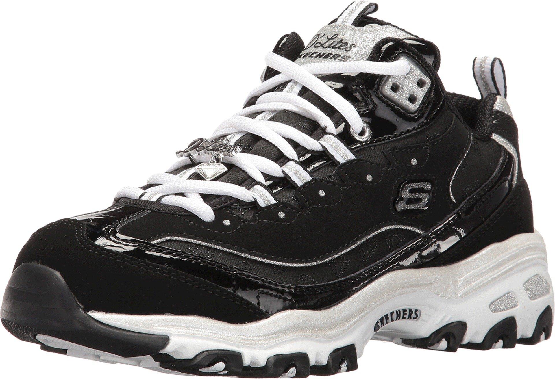 Skechers Women's D'Lites Style Revamp Sneaker,Black/White,US 9.5 M