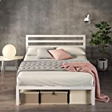 Zinus White Modern Metal Steel Platform Queen Size Bed Frame Headboard Base Mattress Foundation   Wooden Slats Under Bed Storage