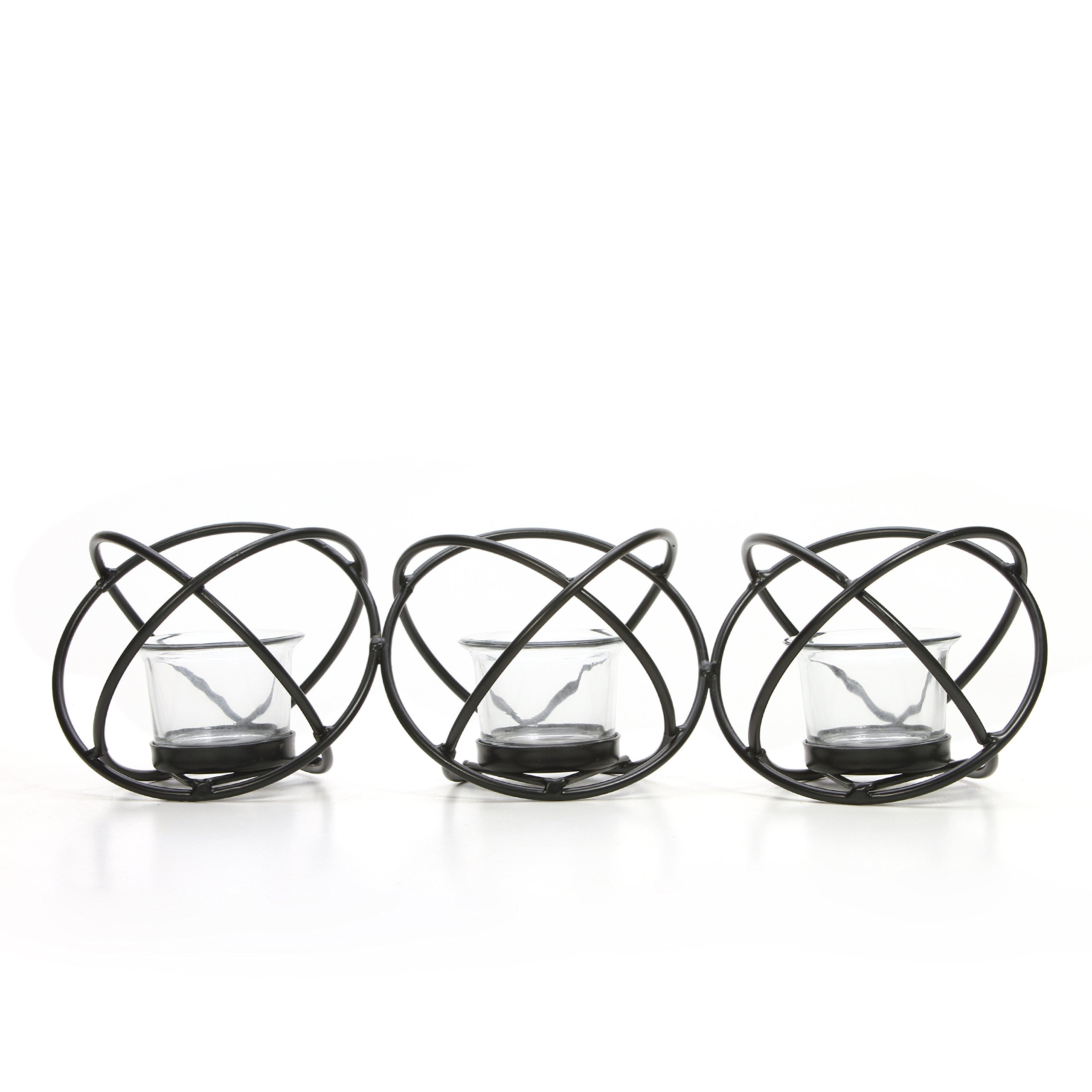 Hosley Modern Art Hand Made by Artisans 14-Inch Long Black Iron Candleholder with Clear Glass Votive Cups, Set of 3 with Tea Lights O9